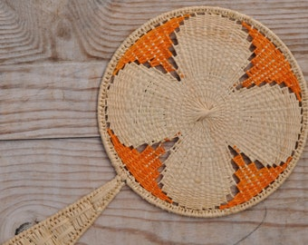 Raffia fan for beach wedding or vintage party, portable hand fan, fan for BB or decorative, crafted fan