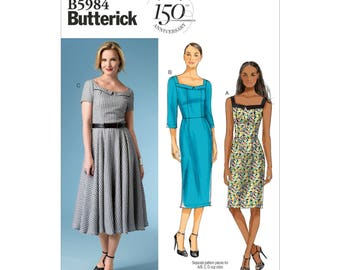 Butterick B5984 Size 8-16 or 16-24 Misses Dresses Sewing Pattern / Uncut/FF