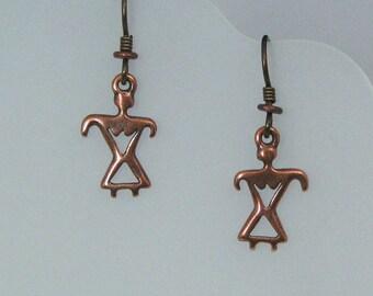 Copper Female Petroglyph Style Earrings, Female Charm Earrings on Hypoallergenic Ear Wires, Primitive Earrings, Southwestern Style Jewelry