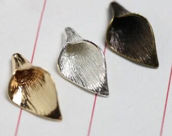 6PCS Brass Calla Lily Pendant Calla Lily Bead Cap Gold Silver Pendant