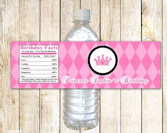 Princess Bottle Labels - Birthday Baby Girl Shower Party Favor Label Pink Argyle Printable Personalized