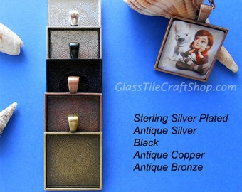 100 Square Pendant Trays - Choose Color: Copper, Bronze, Antique Silver, Silver, Black. (25MSQTMIX)