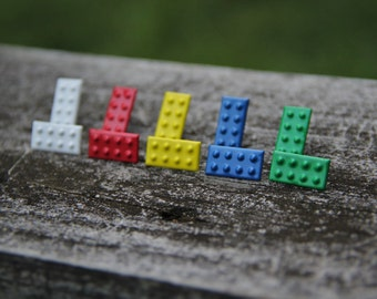 Color Building Block Stud Earrings: Green, Blue, White, Yellow, and Red!