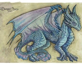 Adolescent Dragon Watercolour