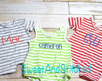 Monogrammed Boys romper, toddler romper or jon jon, boys knit romper striped, monogrammed baby boy summer outfit, Boys 4th of July outfit
