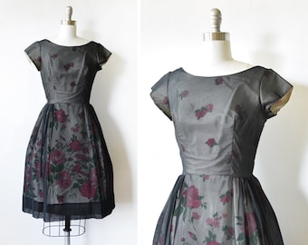 60s black floral party dress, vintage 1960s silk chiffon dress, full skirt garden party cocktail dress, extra small xs