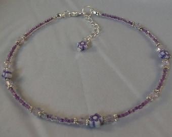 Purple glass beaded anklet, flower anklet, ankle bracelet, beaded anklet, beach anklet, seed bead anklet, boho anklet, boho jewellery