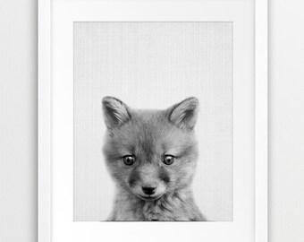 Fox Print, Fox Pup Cub Kit, Woodland Nursery Wall Art, Black And White Animal Print, Kids Room Wall Art, Nursery Animal Decor, Printable Art