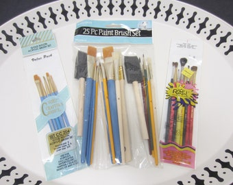 Paint Brushes Mixed Lot of 3 Packs Use For Acrylics Oils Watercolor Tempera Glazes Alkyds Round Shader Liner Fine Wide Foam Brush
