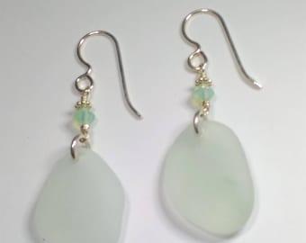 Sea Foam - Sea Glass Earrings - Genuine Sea Glass - Sterling silver - Argentium silver - Cape cod seaglass - Beach Glass