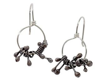 Small Kinetic Earrings - Spiky Circle Drop Earrings - Gift for Her - Black Silver Hoop Earrings - Sterling Silver Fringe Earrings