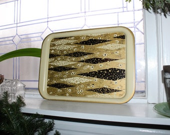 1960s Metal Serving Tray Black and Gold Mid Century Mod 4 Available