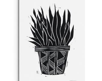 Succulent in a Pot with Pattern - Illustration - Linocut Block Print - Original or Digitally Printed