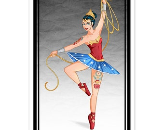Tattooed Wonder Woman Inspired Ballerina [ Print ] - by Denis Caron - Corvink