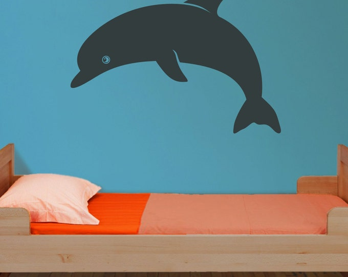 dolphin vinyl wall decal, ocean animal sticker art, child wall art, FREE SHIPPING