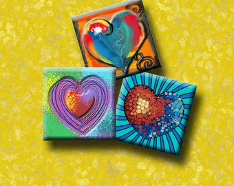 FUNKY HEARTS -  Digital Collage Sheet 1 inch square images for pendants, magnets, decoupage etc. Instant Download #210.