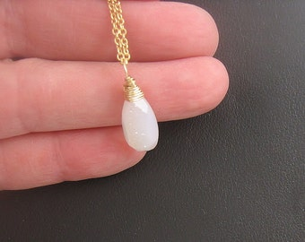 White Druzy Solitaire Neckace in Gold, Gemstone Pendant, Layering Necklace