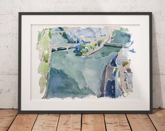 FRAMED Paris Watercolor Print Seine Pont Neuf Wall Art Giclee print