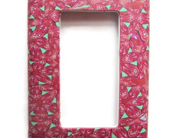 Light Switch Cover, Rocker Switchplate, Single Switch Plate with Pink and Mint Green Repeated Pattern