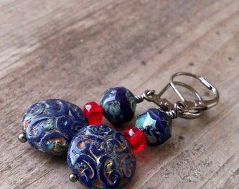 Gift for Her - Boho Earrings - Navy Blue Earrings - Beaded Earrings - Statement Earrings - Dangle Earrings - Red and Blue Earrings