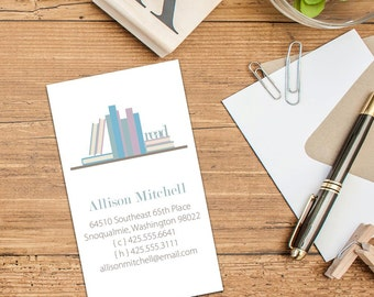 Book Lover Calling Cards, Business Cards, Bookworm Cards, Set of 50 cards, Set of 100 Cards, Simple Books on a Shelf Calling Cards, Personal