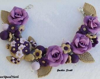 Purple Rose Bracelet, Bracelet, Purple Rose, Polymer Clay Bracelet, Handmade Bracelet, Turtle, Purple, Free Shipping