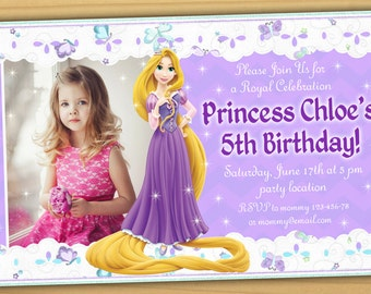 Rapunzel invitations Etsy