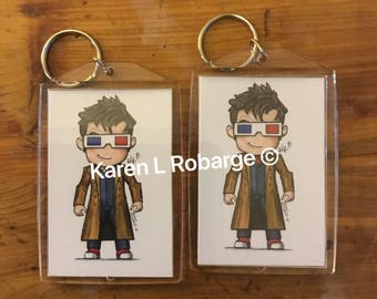 The Tenth Doctor Who cartoon keychain.
