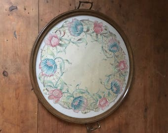 Large Round Vintage Glass-Topped Tray with Embroidered Silk