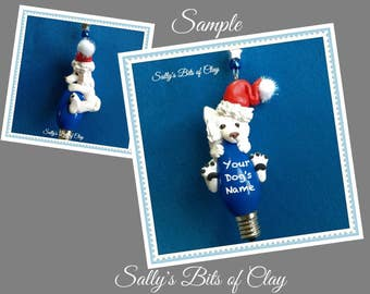 Samoyed Santa dog Christmas Holidays Light Bulb Ornament Sally's Bits of Clay Personalized Free with dog's name
