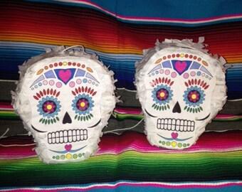 2 Small Sugar Skull Calavera Piñatas - Day of the Dead - Dia de los Muertos - Halloween