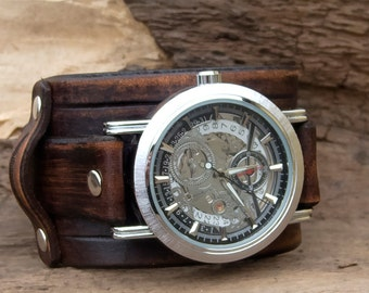Leather cuff watch, Transparent Steampunk Skeleton Mechanical Leather Stainless Steel  Wrist Watch