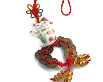 Vintage Porcelain Maneki Neko Beckoning Cat Lucky Cat & Coins Hanger Zipper Pull Purse Charms