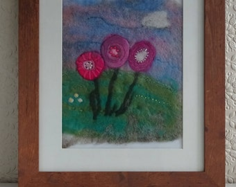 Flowers in the meadow felted picture - flower picture - flower felted picture - framed felt art - fibre art