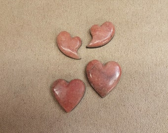 40% OFF Pink Alabaster Heart Cabochons/ backed/ set of 4/ seconds