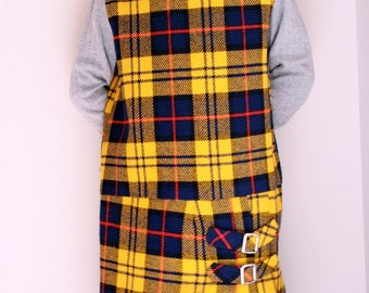 Vintage girls plaid dress yellow and navy plaid size 10