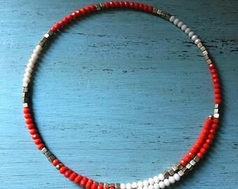 Orange & White beaded choker necklace