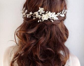 bridal hair vine, white hair flower, bridal hair piece, wedding headpiece, white hair comb, bridal hair accessories, bridal hair flower, #24