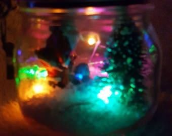 Santa Clause Solar LED Holiday Christmas Jar Ornament, Eco-Friendly