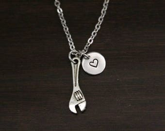 Wrench Necklace - Crescent Wrench Jewelry - Plumber Necklace - Home Builder Necklace-Pipe Fitter Gift-Mechanic Gift-Fabricator Gift - I/B/H