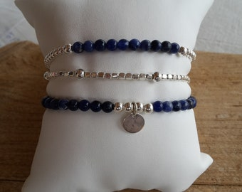 Trio of 925 sterling silver bracelets and sodalite gemstone