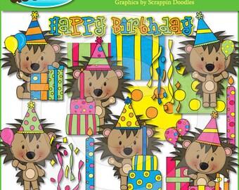 Little Birthday Hedgehogs Clip Art