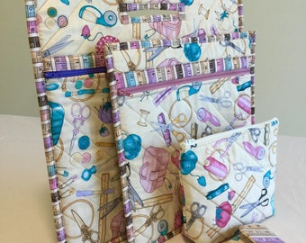 Quilted Project Bag Set, Cross Stitch Bag, Sewing Bag Set, Embroidery Bag, Cross Stitch Project Bag, Retreat Project Bag, Mothers Day Gift