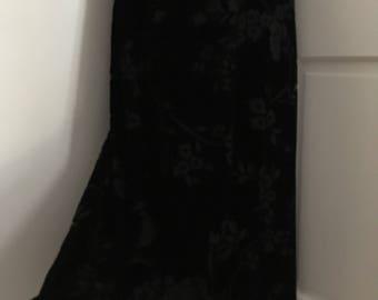 Ralph Lauren Black Velvet Skirt//size 10//Long A-line Skirt