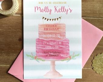Golden birthday invitation, bridal shower invitation, baby shower invitation, sweet sixteen, pink and gold birthday, watercolor cake design