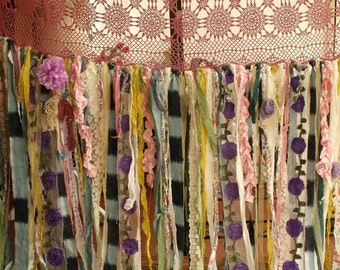 "80""wide x84""long Boho Garland Curtain Gypsy Hippie Glamping Junk Shower Rag Backdrop  7 Foot Long"