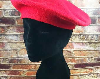 VINTAGE Red Betmar New York All Wool Fashion Beret Mod 1960s Style Trendy Hat Accessory Parisian Style