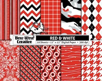 Red, white, black, digital, scrapbook paper, school colors, team, school colors, printable, patterns, college, sports, Ohio State Buckeyes