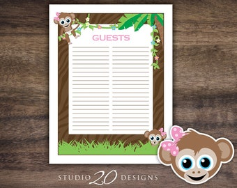 Instant Download Girl Monkey Guest List, Printable Jungle Baby Shower Guest Sign In Sheet, Pink Monkey Birthday Guest Sign-In 58B