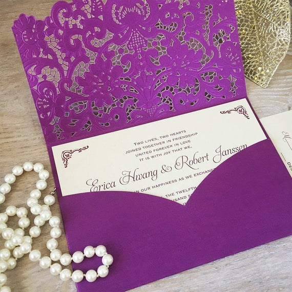 ERICA - Purple Laser Cut Pocket Wedding Invitation - Champagne Gold Invitation Inserts - Plum Purple Wedding Invitation - Lace Pocket Invite